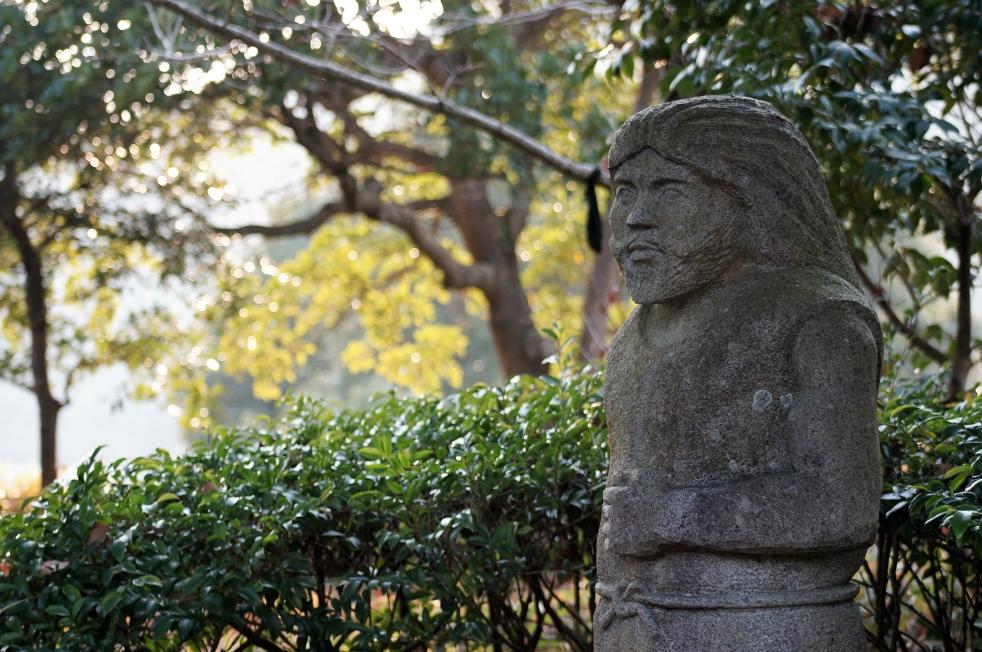 道の駅きくすい・縄文のむら 縄文人の石像