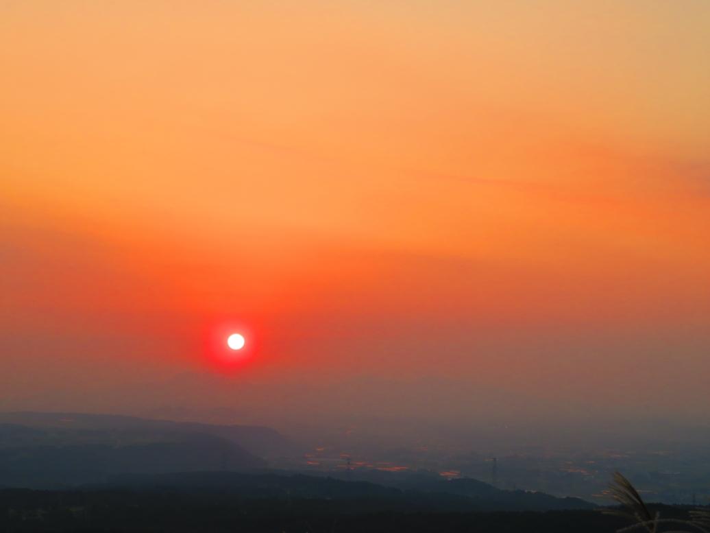 俵山トンネルルート 夕日
